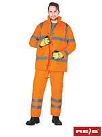 Костюм зимний с светоотражающими полосами рабочий оранжевой REIS Польша (спецодежда сигнальная) U-VIS P