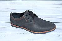 Мужские туфли кожаные, черный крейзи