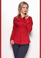 Женская классическая коттоновая рубашка с длинным рукавом красного цвета. модель 365.