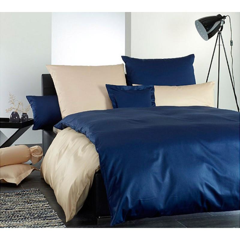 Постельное белье Сатин CLASSIC BLUE + SOFT SALMON ТМ Царский дом  (Полуторный)
