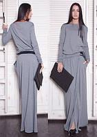 Платье женское, серое, осень-зима P-CRIS №34