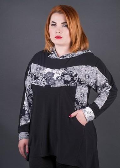 Туника женская большого размера с капюшоном купить недорого в Украине