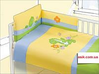 Детская сатиновая постель с вышивкой динозаврика ( голубой цвет)