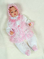 """Велюровый набор на выписку для девочки """"Мальвина"""" белый с розовым - 56р."""