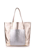 Кожаная женская сумка POOLPARTY Mania золотистая
