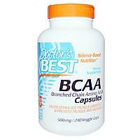 Doctor's Best, Комплекс аминокислот с разветвлёнными цепями, 500 мг, 240 растительных капсул