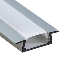 """Профиль для светодиодной ленты """"встраиваемый"""" (без крепежей), серебро, Feron CAB251"""