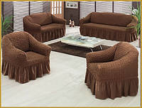 Чехол для 1 дивана и 2-х кресел Burumcuk коричневый