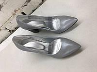 Туфли лодочки на толстом каблуке,кожа