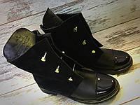 Женские ботинки  на низком ходу болты,натуральный замш+кожа