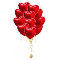 Фонтан из гелиевых фольгированных сердец, гелиевые шары сердце. Гелиевые шары Киев.