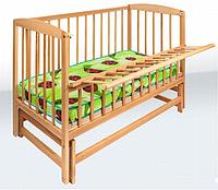 Кроватка детская  на шарнирах с откидной боковиной (бук)