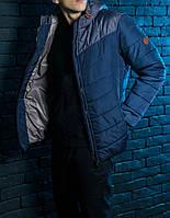 Куртка весенняя, осенняя,  парка, мужская, синий+ серый, Супер качество!
