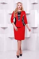 Изысканное платье с  баской Елена р. 50-58 бордо