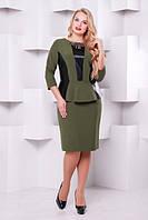 Изысканное платье с  баской Елена р. 50-58 оливка