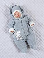 """Велюровый комбинезончик с шапочкой младенцев """"Маленькие стиляжки"""", (с собачкой) на хлопковом подкладе"""