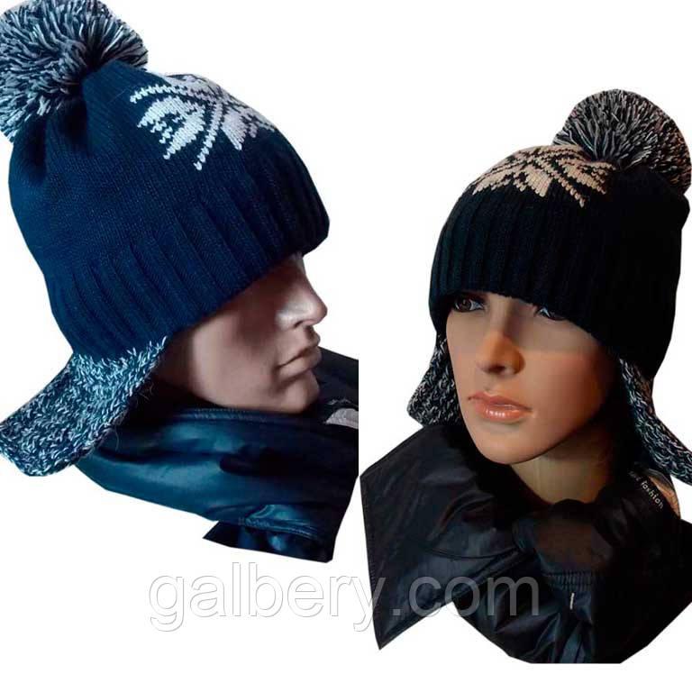 женская и мужская вязаная шапка ушанка снежок с норвежским