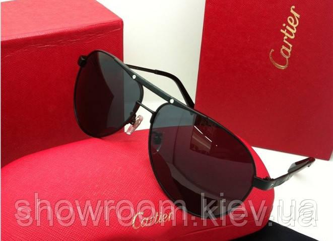 Солнцезащитные очки в стиле Cartier (135) черная оправа
