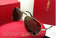 Солнцезащитные очки в стиел Cartier (135) золотая оправа, фото 1