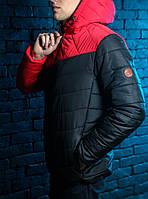 Куртка весенняя, осенняя,  парка, мужская, черный+красный, Супер качество!
