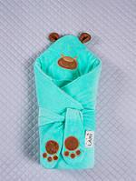 """Конверт-одеяло для новорожденных, """"Панда"""" ментоловый"""