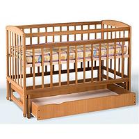 Кроватка детская  на шарнирах с откидной боковиной и ящиком + подшипник (бук)