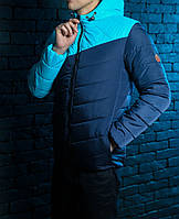 Куртка весенняя, осенняя,  парка, мужская,синий+голубой, Супер качество!