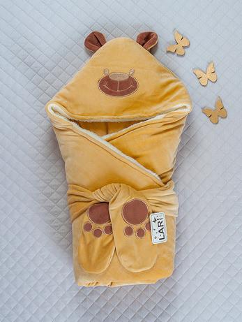 """Зимний конверт-одеяло для новорожденных """"Панда"""" капучино"""