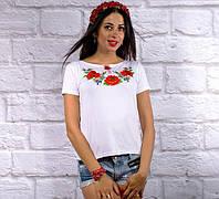 """Жіноча футболка з вишивкою """"Макове поле"""""""