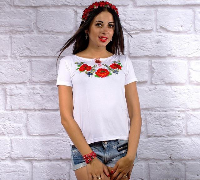 """Жіноча футболка з вишивкою """"Макове поле""""  3XL. 4XL"""