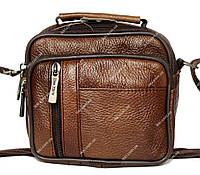 Удобная мужская кожаная сумка светло-коричневая (8014-ск)