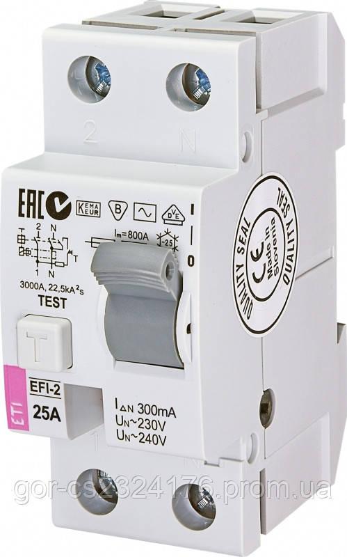 Реле дифференциальное (УЗО) EFI-2 25/0,3 тип AC (10kA)