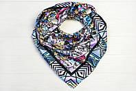 Шелковый платок Кошки, 90х90 см, голубой/сирень