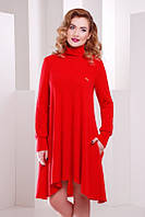 Теплое стильное  красное платье  Beatrice     FashionUp 42-50 размеры
