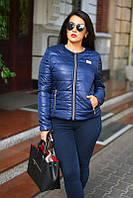 Темно-синяя женская демисезонная куртка большого размера