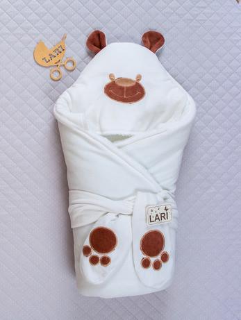 """Зимний конверт-одеяло для новорожденных, на выписку, """"Панда"""" белый"""