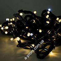 """Гирлянда уличная """"Нить"""" (String) 100LED 10м, чёрный провод (каучук), светодиодная белая, синяя"""