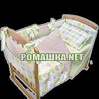 Комплект постельного белья для новорожденного 7 элементов с бортики подушечками одеяло 120х60 см 3384 Салатовы