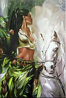 Светящиеся картины Startonight Девушка Печать Люди Лошади Животные на Холсте Декор стен Дизайн дома Интерьер