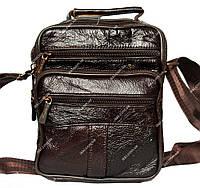 Вместительная сумка через плечо для мужские коричневая (8015 к)
