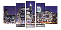 Модульные Картины Startonight Mанхэттен 5 частей Нью Йорк Города Печат Холст Декор стен Дизайн дома Интерьер