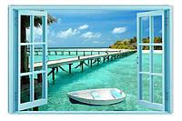 Светящиеся картины Startonight Окно Печать на Холсте Остров Море Лодка Причал Декор стен Дизайн дома Интерьер