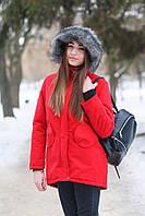 Женская зимняя парка, куртка, высокое качество, зима -25, красная