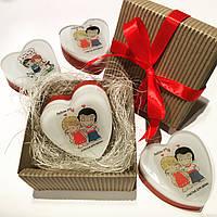 """Подарок на день Валентина -  мыло сердечко ручной работы с картинками """"LOVE IS"""""""