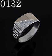 Кольцо серебряное мужское с золотыми накладками