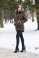 Женская зимняя парка, куртка, высокое качество, зима -25,коричневая