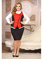 Женский деловой костюм Тайми цвет красный двойка размер 48-72