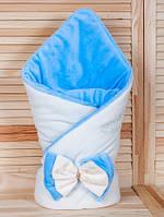 """Теплый конверт-одеяло, для мальчика на выписку, """"Бантик"""" кремовый с голубым"""