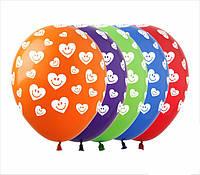 Гелиевые шары с принтом сердечек-смайлов