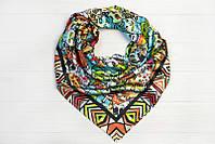 Шелковый платок Кошки, 90х90 см, бежевый/терракот